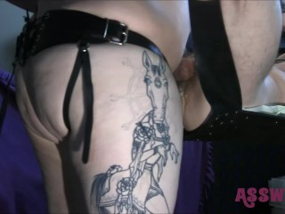 Our Tattooed Horny mom Gives Him A Rough Pegging With a Mega big Strapon.