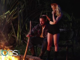 BABES - petite small tit blonde Jane Wilde gets pounded by campfire