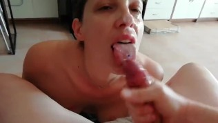 A day with my dirty slut – second blowjob (cumplay, swallow, DT, titfuck)