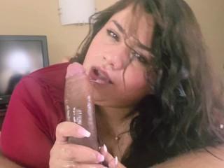 Cute BBW Breana Khalo Sucks & Chokes on Her First BBC