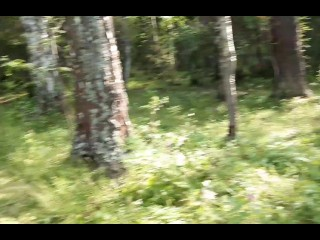 Romantic sex in the forest with a cute babe