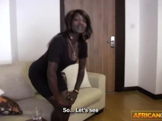 African amateur filmed sucking big cock