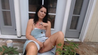 MOM SMOKES and cums on black cock outside