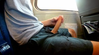 Exhibitionist risky jerk off on a train, heavy cumshot all over myself!