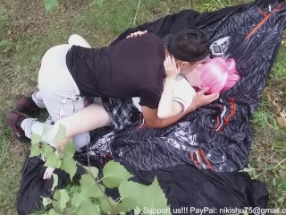 Cute anime Japanese schoolgirl gets fucked in the death forest
