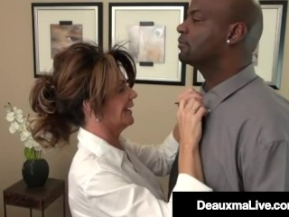 Huge Booby Milf Boss Deauxma Stuffs Her Mature Muff With Big Black Cock