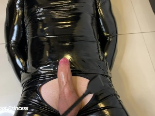 Slave gets a footjob and licks his own cum off my feet - LFP