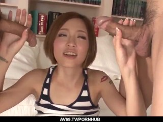 ena ouka goes naughty on two pretty big cocks - more at 69avs com