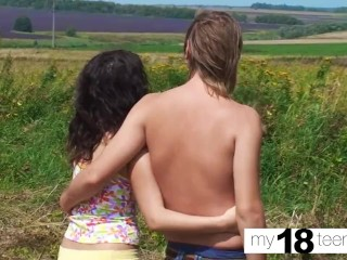 my18teens - gorgeous brunette sloppy blowjob and playing with pussy outdoor
