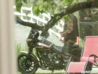 petite brunette having intense hot sex with her biker neighbor