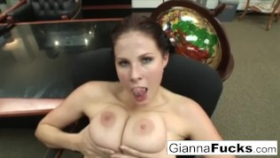POV interracial fuck with busty brunette