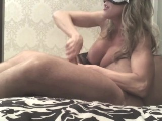 Brandi Love - MILF with huge tits stroking cock