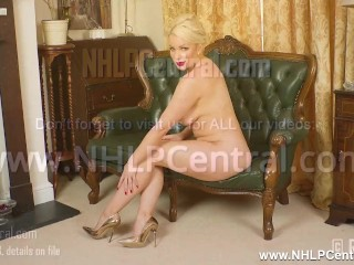 Hot busty blonde penny lee wants cum all over her sexy gold designer heels