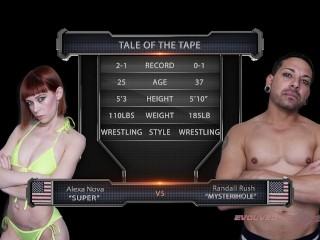 Alexa Nova naked wrestling winner fucks loser in femdom strapon sex