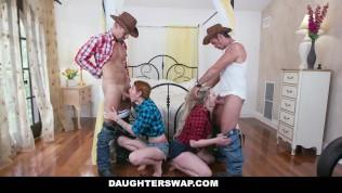 DaughterSwap - Sexy Teens In Jean Shorts Suck And Fuck Dad Cock