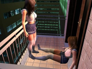 Giantess School Girl Grows Tall as a Building - Big Boob Teen Squishes Pal