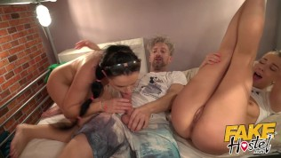 Fake hostel hot threesome with squirting multiple orgasms and big dick