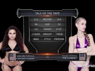 Gabriella Paltrova girl vs girl wrestling with strapon by Kyaa Chimera