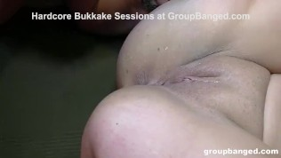 Tattooed GangBang Whore Covered in Cum