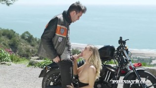 Private.com Presents – Hot Biker Chick Natalia Starr Gets A Cum Facial!