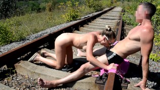 Fit girl gets cum on her face on the railroad track, amateur sex.