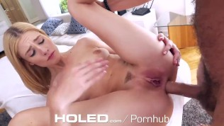 HOLED Bleached Blonde Asshole Pumped Full of Big Dick