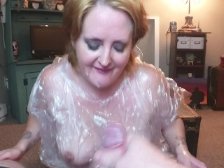 Big Tits Milf Sloppy Deepthroat Blowjob in a Rain Poncho It's Raining Cum!