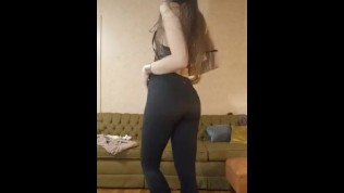 Super slow strip from leggings to nude