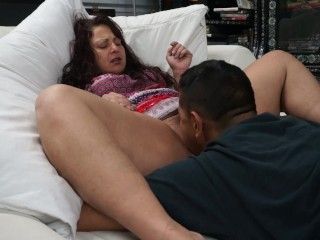 Stepmom lets sons friend lick up creamy wet pussy juice