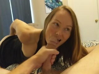 POV Sexy Girl Sucking my Big Cock and Balls and Licking up my Cum