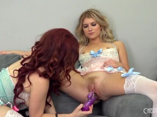 Jessica and Arya Wear Matching Lingerie and Play With Toy