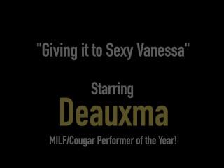 Busty Texas Cougar Deauxma StrapOn Fucks Latina Milf Sexy Vanessa!