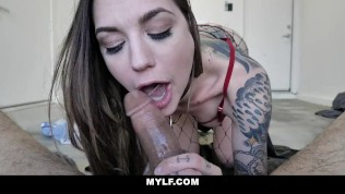 MYLF - Inked Up Milf Rubs Off a Big Cock
