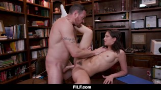 FILF - Horny Teen Brunette Amazing Dick Riding On Salesman