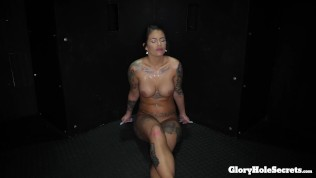 sexy stripper makes money giving sloppy head in a gloryhole