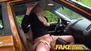 Fake Driving School Sexy learner licks Kathy Andersons wet pussy