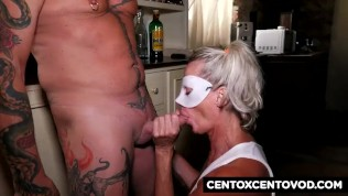 Masked blonde milf gets fucked by the 100×100 cock