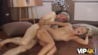 VIP4K. Old man discovers sexual talents of young student girl