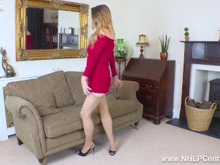 beautiful busty babe gabriella knight masturbates in pantyhose and heels