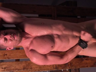Uncut Muscle Jock Cums After Whipping & Stretching – DreamBoyBondage