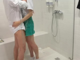 Horny blonde schoolgirl get a dick in public shower room. Cum onto face.