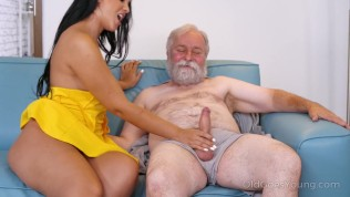 african hottie visits an old man relaxing on couch