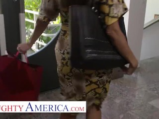 naughty america - ava addams comes welcome home with sexy lingerie