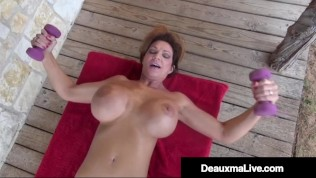 Busty Muscular Mature Deauxma Works Her Nude Body In Front Of Her House!