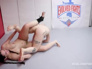 Kaiia Eve vs Kyra Rose lesbian wrestling and pussy eating strapon sex