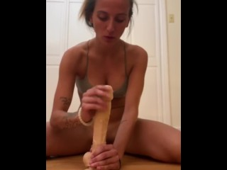 Fucked doggie style with a huge dildo and cock in my pussy