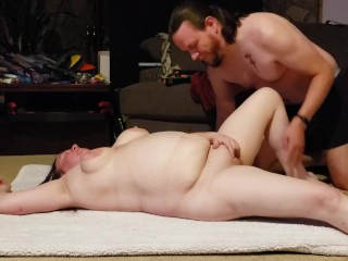 Horny hotwife BBW plays with herself, sucks dick, gets a creampie