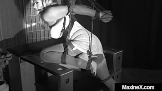 Bound Asian Dungeon Slut Maxine X Cums & Squirts In Crazy Ratchette Gag!