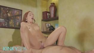 Kinky Spa - Skinny readhead Vanna Bardot gives massage and happy ending