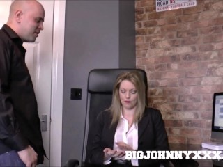 Sexy Busty Mature Boss Milf in Stockings Holly Kiss Fucks Young Big Cock!